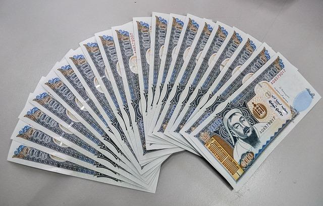 velký vějíř mongolských bankovek