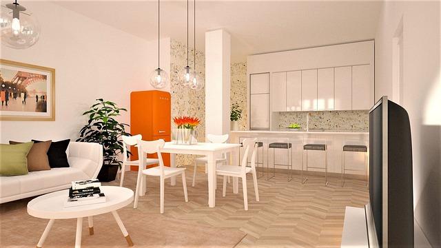 oranžová lednička v bílé kuchyni
